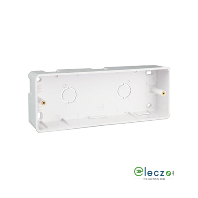 Great White PVC Surface Junction Box 2 x 6 Module Vertical, Suitable For Myrah Or Fiana