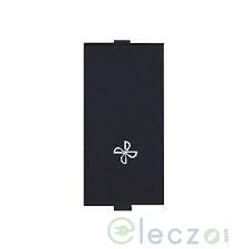 Great White Myrah Slim Switch With Fan Mark 10 A, Black, 1 Module, 1 Way