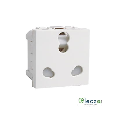 Havells Coral White 3 Pin Twin Socket 6/16 A, 2 Module, With Safety Shutter