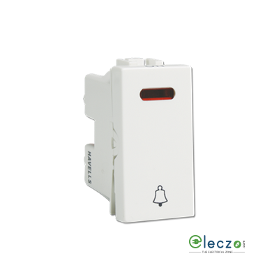 Havells Coral Switch 6 A, White, 1 Module, Bell Push, With Indicator