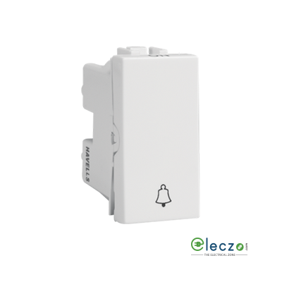 Havells Coral Switch 6 A, White, 1 Module, Bell Push