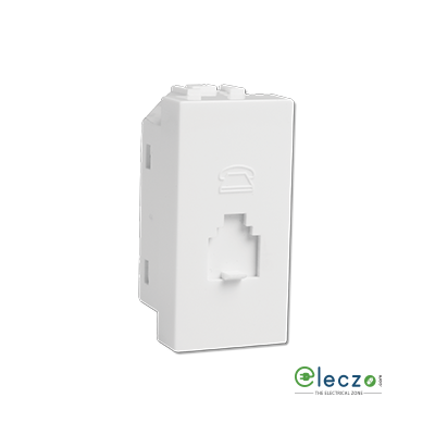 Havells Coral White Telephone Outlet RJ 11, 1 Module, Single Jack With Safety Shutter