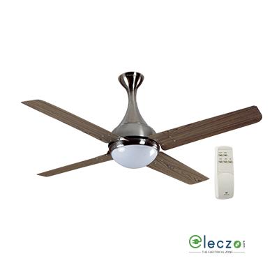 "Havells Dew Premium LED Underlight Ceiling Fan With Remote 1320 mm (52""), Viking Teak Brushed Nickel, 4 Blade"