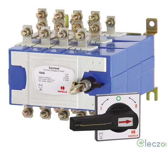 Havells Euroload Onload Changeover Switch 63 A, Open Execution, 4 Pole, 415 V AC