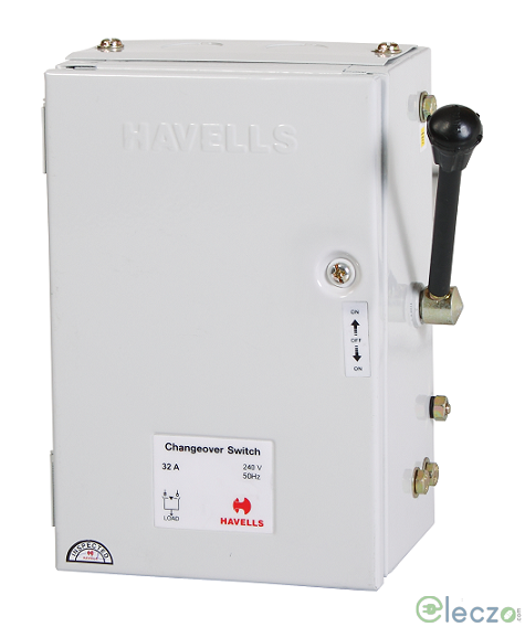 Havells Onload Changeover Switch 32 A, SS Enclosure, 2 Pole, 415 V AC