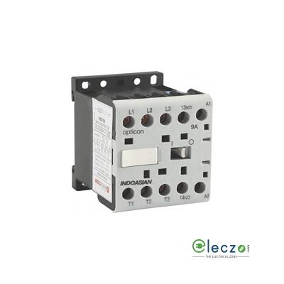 Indoasian Opticon Mini Contactor 9 A, 3 Pole, 110 V AC, 1 NO, AC3 Duty