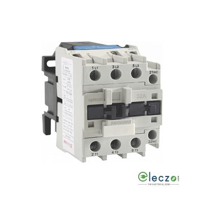 Indoasian Opticon Power Contactor 9 A, 3 Pole, 24 V AC, 1 NC, AC3 Duty