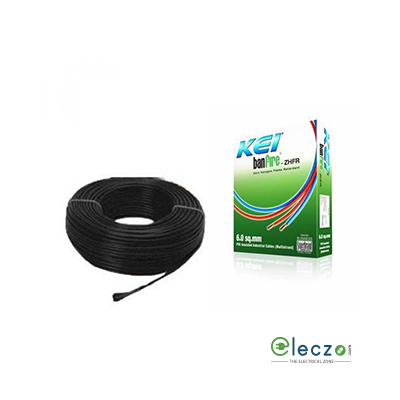 KEI Banfire 0.75 Sq.mm, Single Core Copper Flexible Cable, Black, PVC ZHFR (Zero Halogen Flame Retardant)