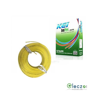KEI Banfire 0.75 Sq.mm, Single Core Copper Flexible Cable, Yellow, PVC ZHFR (Zero Halogen Flame Retardant)