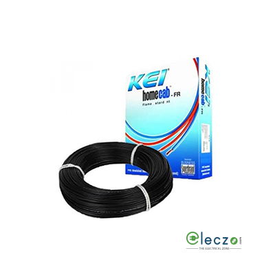 KEI Homecab 0.75 Sq.mm, Single Core Copper Flexible Cable, Black, PVC FR (Flame Retardant)
