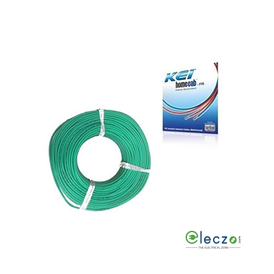 KEI Homecab 0.75 Sq.mm, Single Core Copper Flexible Cable, Green, PVC FR (Flame Retardant)