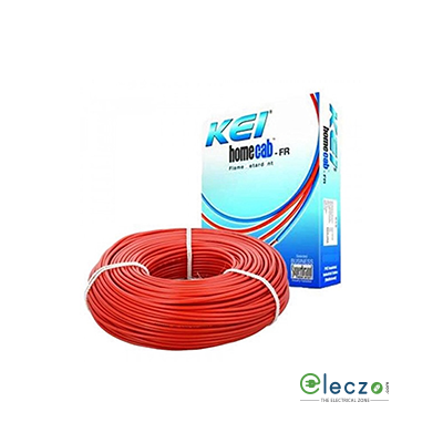KEI Homecab 0.75 Sq.mm, Single Core Copper Flexible Cable, Red, PVC FR (Flame Retardant)