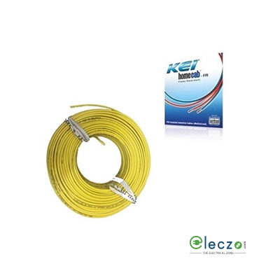 KEI Homecab 0.75 Sq.mm, Single Core Copper Flexible Cable, Yellow, PVC FR (Flame Retardant)