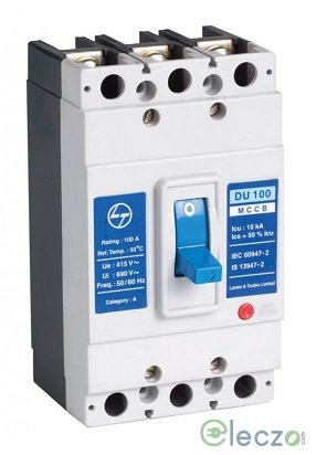 L&T Switchgear DU100 MCCB 40 A, 3 Pole, 10 kA, Fixed O/L & Fixed S/C Settings, Thermal Magnetic Trip Unit