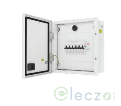 L&T Exora Distribution Board 8 Way, 2 IC + 6 OG Module, SPN, Double Door - Metal, IP 54