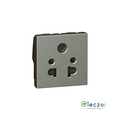Legrand Arteor 2 Or 3 Pin Shuttered Universal Socket (Square) 6 A, 2 Module, Magnesium