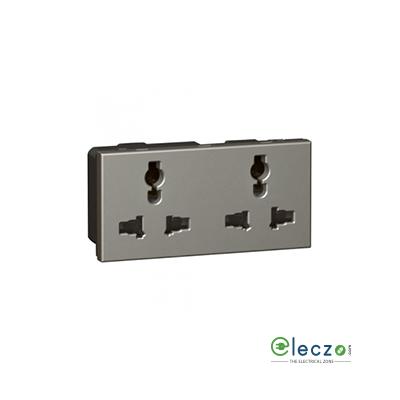 Legrand Arteor Double Multistandard Socket (Square) 6/13/15 A, 4 Module, Magnesium