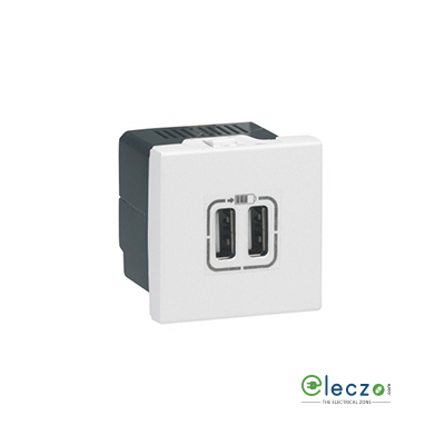 Legrand Arteor Double USB Charger Audio Video Socket (Square) White
