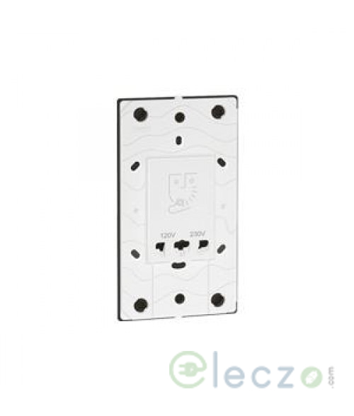 Legrand Arteor Shaver Socket With Earth Connector Monobloc 3 Module, White, 230 V/120-230 V AC