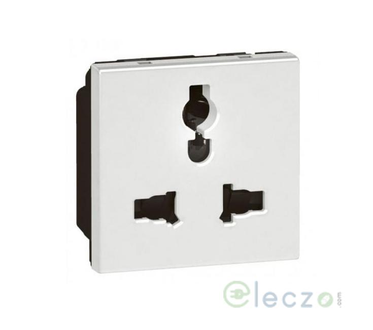 Legrand Arteor 2 Or 3 Pin Multistandard Socket (Square) 6/13/15 A, 2 Module, White