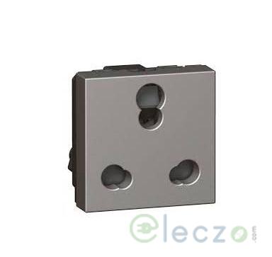 Legrand Arteor 3 Pin Shuttered Socket 6/16 A, 2 Module, Magnesium