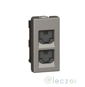 Legrand Arteor Telephone Socket Double 1 Module, Magnesium, RJ 11
