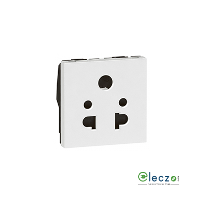 Legrand Arteor 2 Or 3 Pin Shuttered Universal Socket (Square) 6 A, 2 Module, White