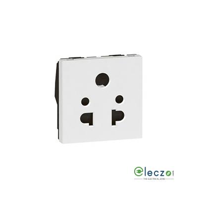 Legrand Arteor 2 Or 3 Pin Shuttered Universal Socket (Square) 6 A, 2 Module, White