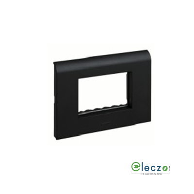 Legrand Myrius PVC Cover Plate 3 Module, Black, With Support Frame