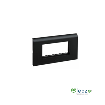 Legrand Myrius PVC Cover Plate 4 Module, Black, With Support Frame