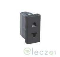 Legrand Myrius 2 Pin Euro US Socket 6/16 A, 1 Module, Black