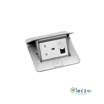 Legrand Pop Up Box 3 Module, Matt Aluminium, Flush Mounting