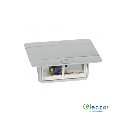 Legrand Pop Up Box 4 Module, Matt Aluminium, Flush Mounting