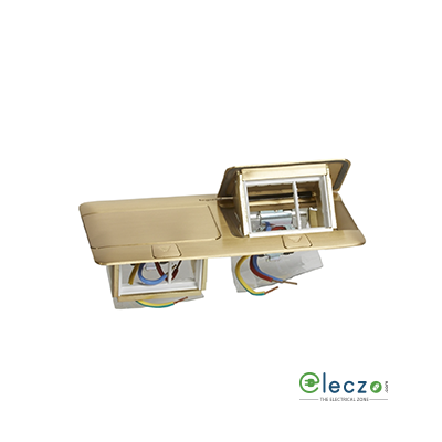 Legrand Pop Up Box 6 Module, Brushed Brass, Flush Mounting