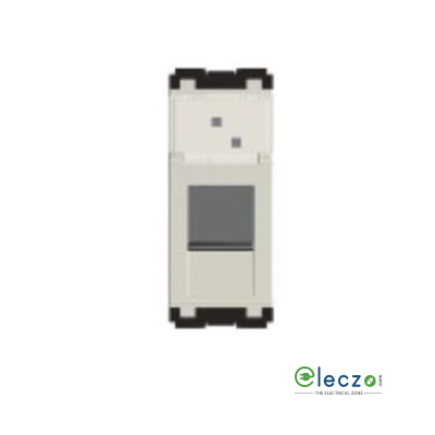 Norisys Cube Series Frost White Computer Outlet RJ 45 (Cat 6a), 1 Module, Single Jack With Safety Shutter