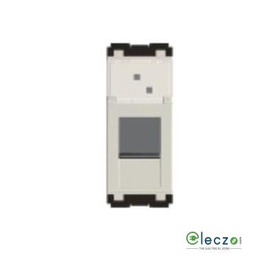 Norisys Cube Series Information Socket With Shutter 1 Module, Frost White, RJ 45 (Cat 6)