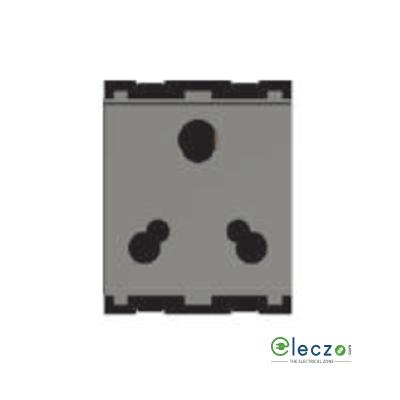 Norisys Cube Series 3 Pin Socket With Shutter 6 & 16 A, 2 Module, Quartz Grey