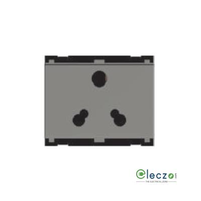 Norisys Cube Series 3 Pin Socket With Shutter 6 & 16 A, 3 Module, Quartz Grey