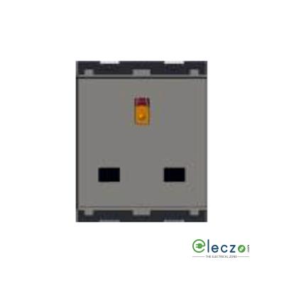 Norisys Cube Series 3 Pin Socket Shutter 13 A, 2 Module, Quartz Grey