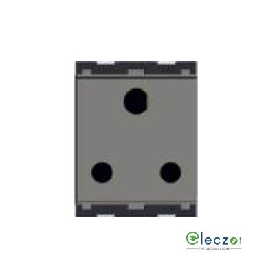 Norisys Cube Series 3 Pin Socket With Shutter 16 A, 2 Module, Quartz Grey