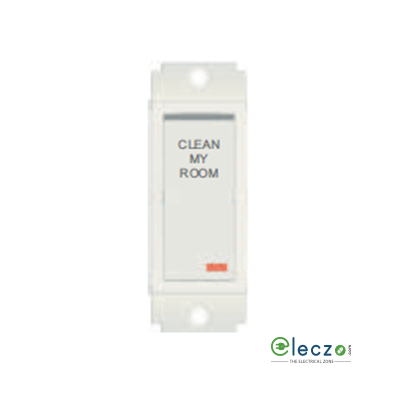Norisys Square Series Clean My Room Switch With Indictor Frost White, 1 Module