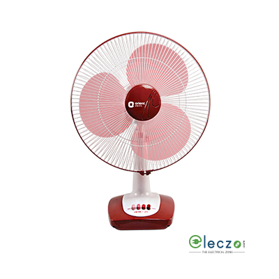 Orient Electric Desk 26 Table Fan 400 mm (16''), Crimson Red-White
