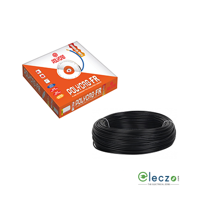 Polycab 1 Sq.mm, Single Core Copper Flexible Cable, Black, PVC FR (Flame Retardant)