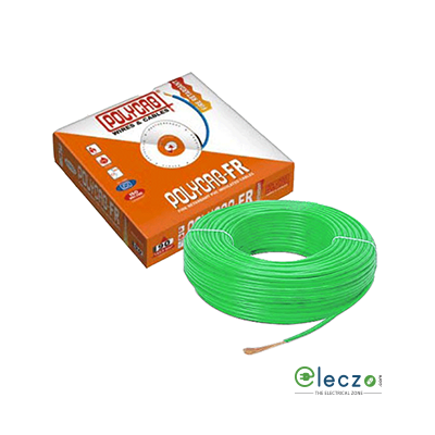 Polycab 0.75 Sq.mm, Single Core Copper Flexible Cable, Green, PVC FR (Flame Retardant)