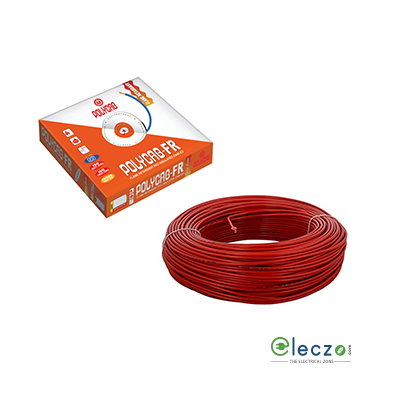 Polycab 1 Sq.mm, Single Core Copper Flexible Cable, Red, PVC FR (Flame Retardant)