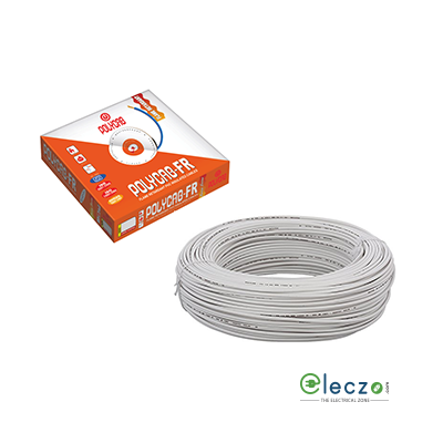 Polycab 0.75 Sq.mm, Single Core Copper Flexible Cable, White, PVC FR (Flame Retardant)