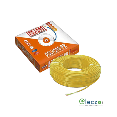 Polycab 0.75 Sq.mm, Single Core Copper Flexible Cable, Yellow, PVC FR (Flame Retardant)