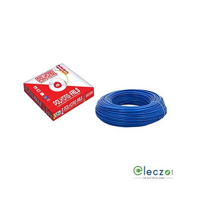 Polycab 10 Sq.mm, Single Core Copper Flexible Cable, Blue, PVC FRLS (Flame Retardant Low Smoke)