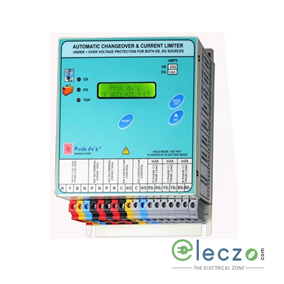Prok dv's Microcontroller Based Auto Change Over Cum Current Limiter (ACCL/ASCL) With LCD Display EB : 3P, 25 A, DG : 3P, 1-25 A