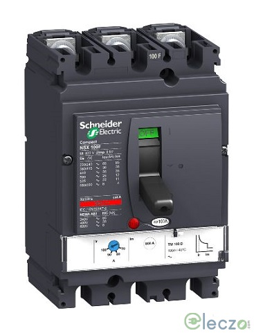 Schneider Electric Compact NSX MCCB 16 A, 3 Pole, 50 kA, Adjustable O/L & Adjustable S/C Settings, Thermal Magnetic Trip Unit TMD